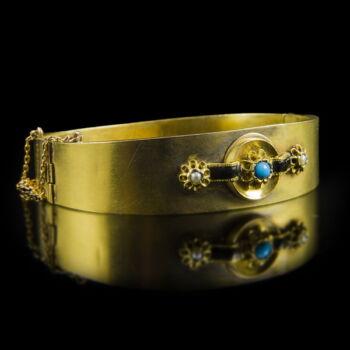 Biedermeier arany karkötő igazgyöngyökkel