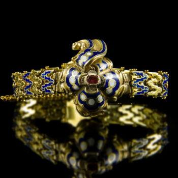 Biedermeier arany karkötő kék-fehér zománc díszítéssel