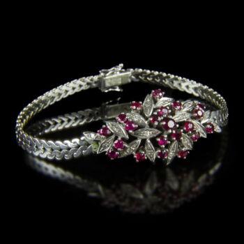 Fehérarany karkötő rubin és gyémánt kövekkel