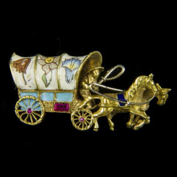 Lovaskocsi alakú arany bross zománc díszítéssel