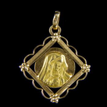 14 karátos arany Mária medál