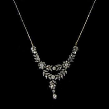 Francia antik gyémánt köves arany nyakék