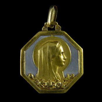 Mária medál arany keretben gyöngyház lappal