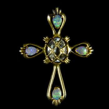 Opál köves kereszt függő
