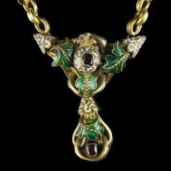 Biedermeier arany nyaklánc zöld-fehér zománc díszítéssel