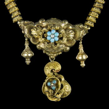 Biedermeier arany nyaklánc türkiz kövekkel