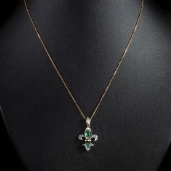 Bourbon liliom függő smaragdokkal és gyémántokkal