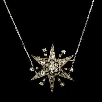 Ezüst nyaklánc gyémánt köves csillag medállal