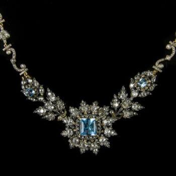Gyémánt köves arany nyakék topáz kövekkel