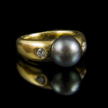 Tahiti gyöngyös gyűrű gyémánt kövekkel