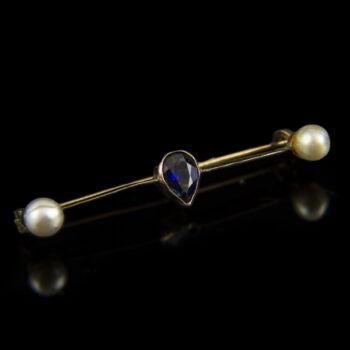 Zafírköves arany sáltű gyöngyökkel