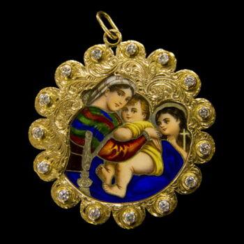 Mária medál 14K arany keretben