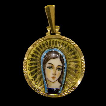 Mária medál 18 karátos arany lapon