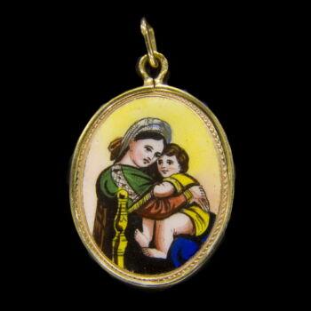 Mária medál 14 karátos arany keretben