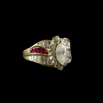 Rubin és gyémánt köves női gyűrű