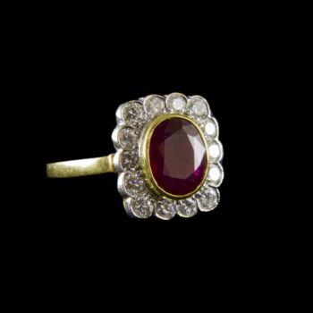 Rubin és gyémánt köves arany gyűrű