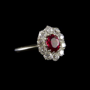 Rubin és gyémánt köves fehérarany gyűrű