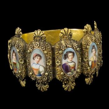 Antik arany portréképes karkötő