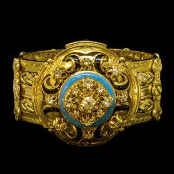 Biedermeier arany karkötő gyémánt kövekkel