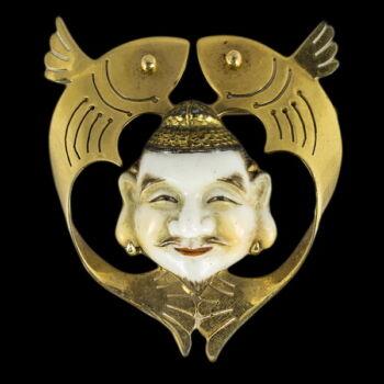 Buddha fejes arany kitűző