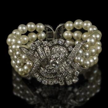 Gyöngysoros platina karkötő gyémánt kövekkel