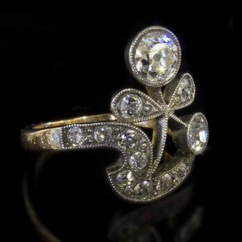Szecessziós női gyémánt gyűrű