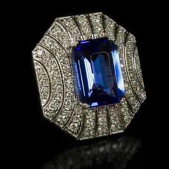 Tanzanit és gyémánt köves arany gyűrű