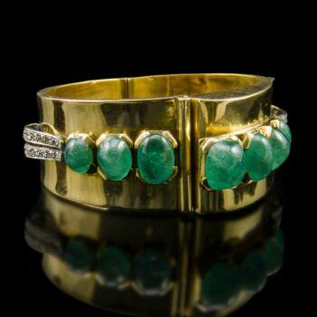Smaragd és gyémánt köves arany karkötő