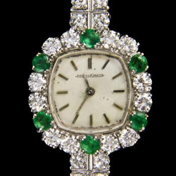 Jaeger LeCoultre női arany koktélóra smaragd és gyémánt kövekkel