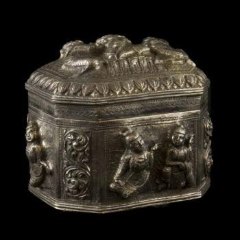 Burmai ezüst fedeles doboz 414 gr