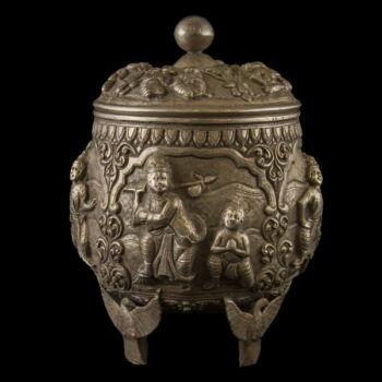 Burmai ezüst fedeles tartóedény 459 gr