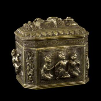 Burmai ezüst pici díszdoboz 290 gr