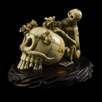 Elefántcsont koponya és csontváz figura