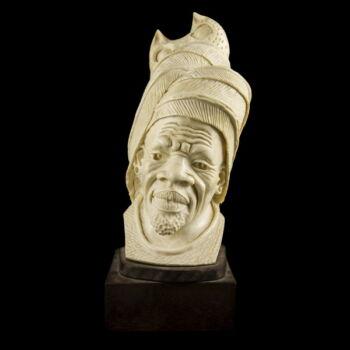 Faragott elefántcsont afrikai férfi büszt