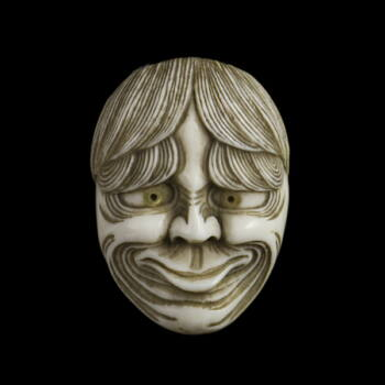 Faragott elefántcsont gyöngyház szemű férfi fejes maszk netsuke