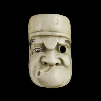 Faragott elefántcsont maszk netsuke grimaszoló arcú figurával
