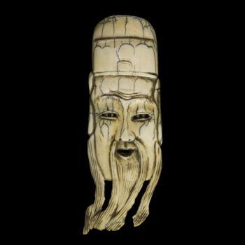 Faragott elefántcsont maszk netsuke szakállas bölcs alakjával