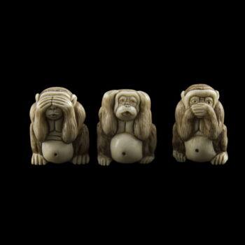 Netsuke Három bölcs majom elefántcsont faragás