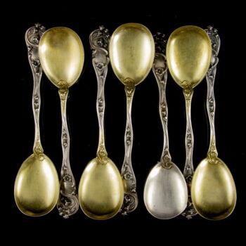 7 db szecessziós ezüst fagylaltos kanál