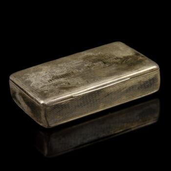 Antik ezüst szelence Szentpétervár látképével