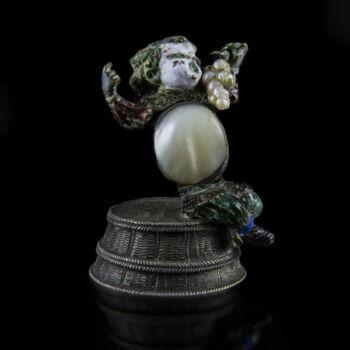 Antik ezüst zománc díszes Bacchus figura