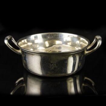 Bécsi antik ezüst füles leveses tányér