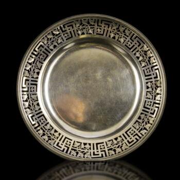 Bécsi antik ezüst tányér áttört peremmel
