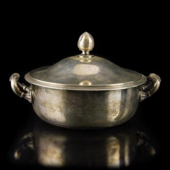 Bécsi fedeles ezüst leveses tányér