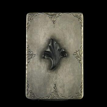 Ezüst cigarettatárca fekete bakelit rátéttel