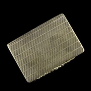 Ezüst tubákos szelence vonalvésett mintával