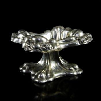 Biedermeier virágmintás asztali ezüst fűszertartó