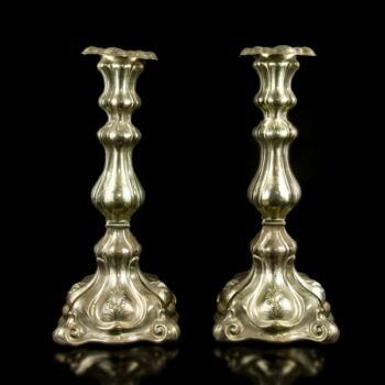 Antik bécsi ezüst gyertyatartó pár