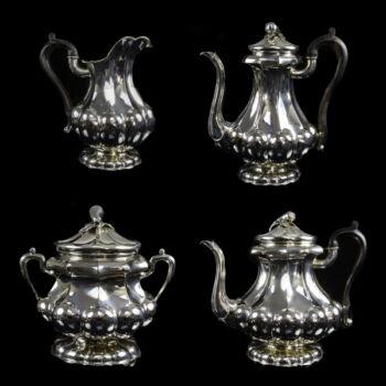 Pesti ezüst teás,- és kávéskanna szett