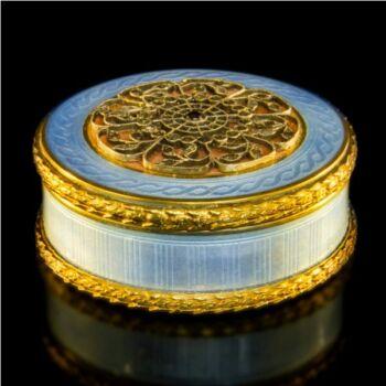 Fabergé stílusú ezüst szelence gyémántokkal